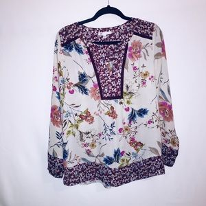 Daniel Rainn Blouse Beige Purple Floral Boho Tunic